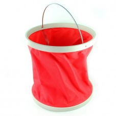 11L Portable Camping Fishing Foldaway Water Bucket Pail Red
