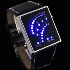29 LED Blue LED Digital Unsex Black Leather Watch