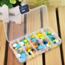 10 grid trumpet rectangular transparent medicine box / storage box / jewelry box