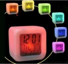 Colorful color feel alarm clock (large) random color