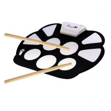 Portable Drum Pad - Flexible Mat, 9 Drums, Included Drumsticks and Pedals