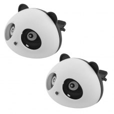 2 Pcs Black White Panda Shaped Car Air Freshener Perfume w Two Clips