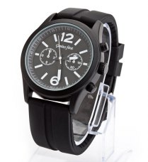 Genius First Women Watch 2 Numbers and Rectangles Hour Marks with Round Dial Silicon Watchband