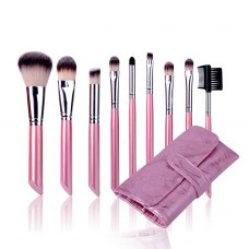 10PCS Cosmetic Brush Set With Lightning Pink Leather Pouch