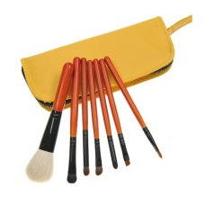 7PCS Orange Handle Makeup Brush Kits With Yellow Zipper Pouch