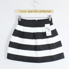 Korea Fashion Knitting Black and White Horizontal striped skirt Tutu Waist Skirts womens short skirt