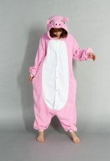 fashion cute pink pig cartoon couple pajamas home service men and women cartoon animal costume