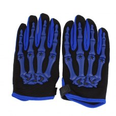 Men Winter Blue Hand Bone Pattern Black Motorcycle Full Finger Gloves Pair