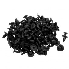 100 Pcs Car Fender Push in Type Plastic Rivets Fastener Black 15 x 13 x 6mm
