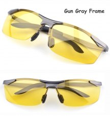 New Mens Anti-vertigo Goggles Polarized Night Vision Driving Glasses Sunglasses Yellow Lens Glasses