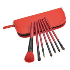 7PCS Red Handle Makeup Brush Kits With Red Zipper Pouch