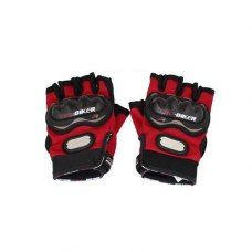 Black Red Motorcycle Driving Sports Hook Loop Fastener Half Finger Gloves Pair