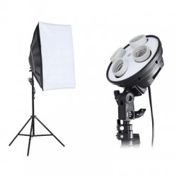 Photo Studio Kit Photography Lighting 4 Lamp Holder 2m Light Stand 50 x 70cm Soft Box