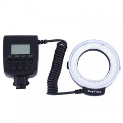 RF550D Macro LED Ring Flash with LCD Display for Canon Nikon DSLR Cameras