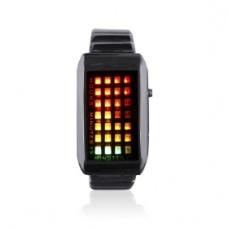 28-LED 3-Color-Light Metal Band Mens Fashion Wrist Watch(Black)