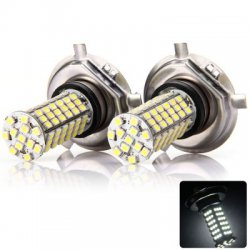 1 Pair Sencart H4 P43T SMD 3528 102-LEDs 7W Car Driving Lamp Brake Bulb - 240Lm 6000-6500K
