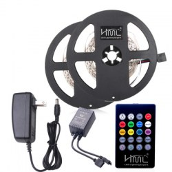 2pcs 5M 24W RGB 2835 300 LED Strip Light - RGB COLOR with IR 20 Keys Music Remote Control and US Adapter