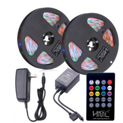 2pcs 5M waterproof 24W RGB 2835 300 LED Strip Light - RGB with IR 20 Keys Music Remote Control and US Adapter