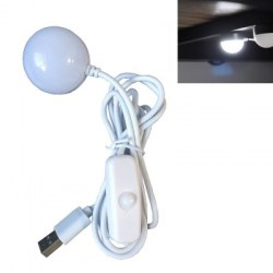 1PC 2.5W Wired Switch White USB Mini Lamp Night Light Magnet 6LED 5V SMD for Laptop Power Bank Decorative