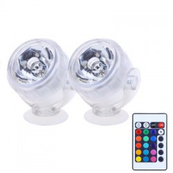 2pcs Aquarium LED Spotlight RGB Fish Tank Diving Light Waterproof Decorative Submersible Lamp with Remote Control