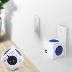 1 Piece Allocacoc Original PowerCube Socket US Plug 5 Outlets Dual USB Port Adapter - 1875W