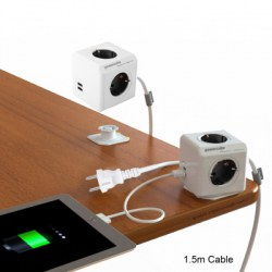 1 Piece Allocacoc Extended PowerCube Socket DE Plug 4 Outlets Dual USB Ports Adapter with 1.5m Cable