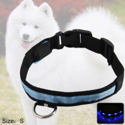 2.5cm Nylon LED Light Up Safety Pet Circular Pendant Collar Neck Loop Necklace Light Point Design with Plug Button Pet Accessories Blue Light