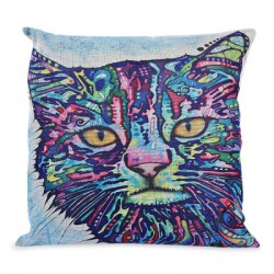 45 x 45CM Cute Cartoon Cat Printed Cushion Cover Cotton Linen Pillow Case Home Decoration