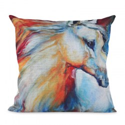 45 x 45CM Horse Pattern Cushion Cover Cotton Linen Pillow Case Home Decoration