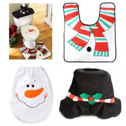 1 Sets Christmas Decorations Xmas Toilet Seat Cover Rug Washroom SSnowman Decorative Lids Covers