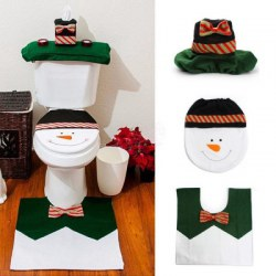 1 Sets Happy Snowman Christmas Bathroom Set Toilet Seat Cover Rug Xmas Decoration Year Decorations