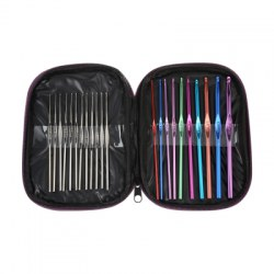 22pcs Multicolor Metal Crochet Hooks Bearded Needles Set