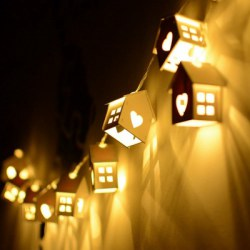 1.5M LED Heart Type Decorative String Light House Shaped Bedroom Night Lamp 10PCS