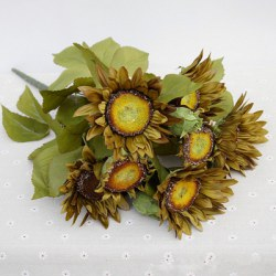 1 Bouquet 13 Heads Retro European Style Oil Painting Feel Greyish-Green Sunflower Artificial Flowers 50CM