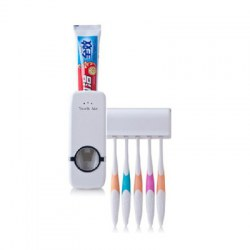 1 Set Tooth Brush Holder Automatic Toothpaste Dispenser + 5 Toothbrush Stand Toothbrush Wall Mount Stand Bathroom Tools