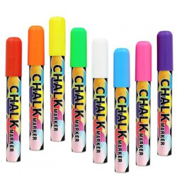 8 Neon Colors Non-Toxic Liquid Erasable Chalk Markers with Reversible Tip for Glass Windows and Chalkboard