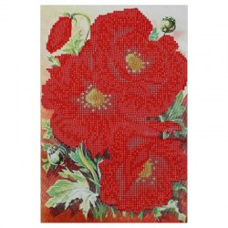 25 x 35cm Poppy Flower Drilled Needlework DIY Diamond Painting Cross Stitch Home Decoration