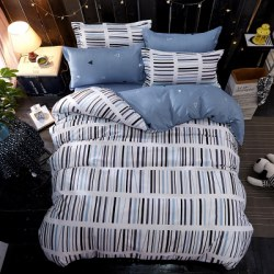 4PCS Wave Point Bedding Set Pillowcase Bed Sheet Quilt Cover K12.1.2