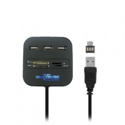 2-in-1 USB 3.1 Type-C, USB 2.0 to 3-port USB HUB with Card Reader
