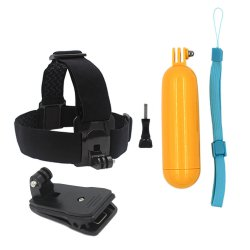 3 in 1 For Gopro Accessories Head Strap Floaty Bobber 360-degree