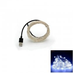 10M 100-LED Silver Wire Strip Light USB Power Supply Fairy Lights Garlands Christmas Holiday Wedding Party 1PC