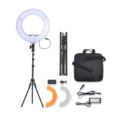 Bi-Color LED Ring Light Video Photography Camera Phone Fill Lamp with Stand