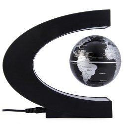 C Shape Levitation Floating Globe Rotating Magnetic World Map Colorful LED Lamp Gift Decoration