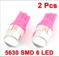 2 Pcs Pink T10 5630 SMD 6 LED Dashboard Light Lamp for Vehicle Car